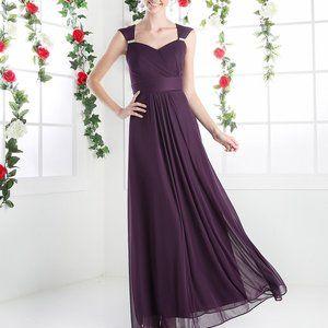 Eggplant color Long Bridesmaid Dress CD3831